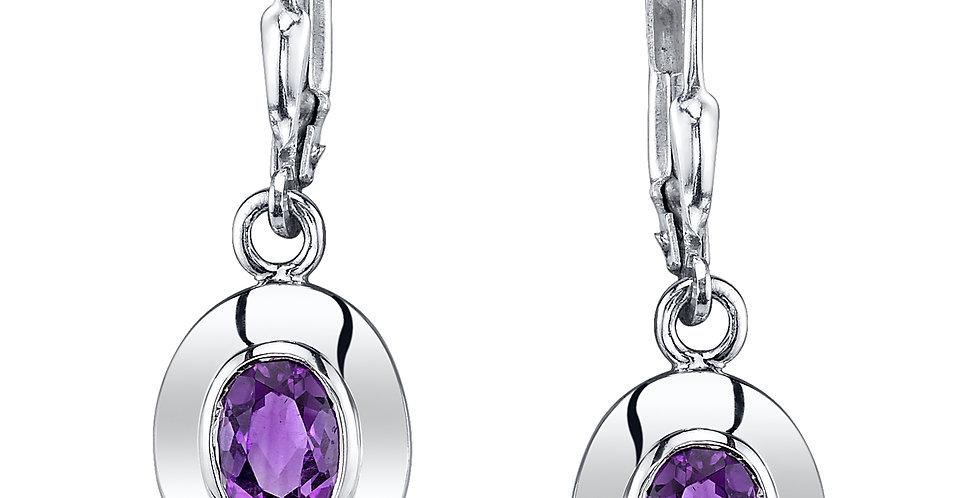 Four Peaks Amethyst Oval Earrings in Sterling Silver