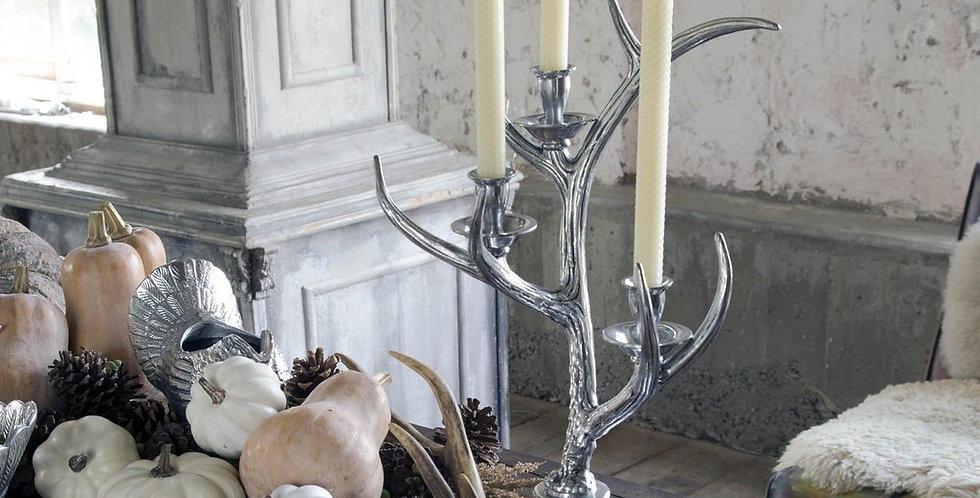 THREE-LIGHT METAL ANTLER CANDLESTICK