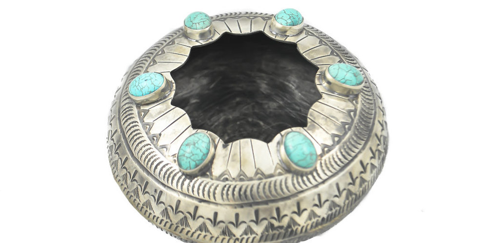 J. Alexander: STAMPED SCALLOPED POT W/ TURQUOISE