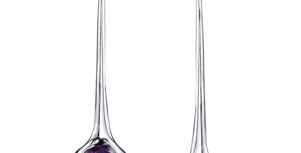 Four Peaks Amethyst Dangle Earrings in Sterling Silver