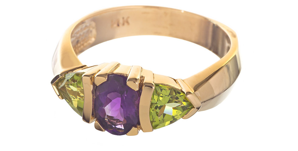 14K Gold Amethyst and Peridot Ring