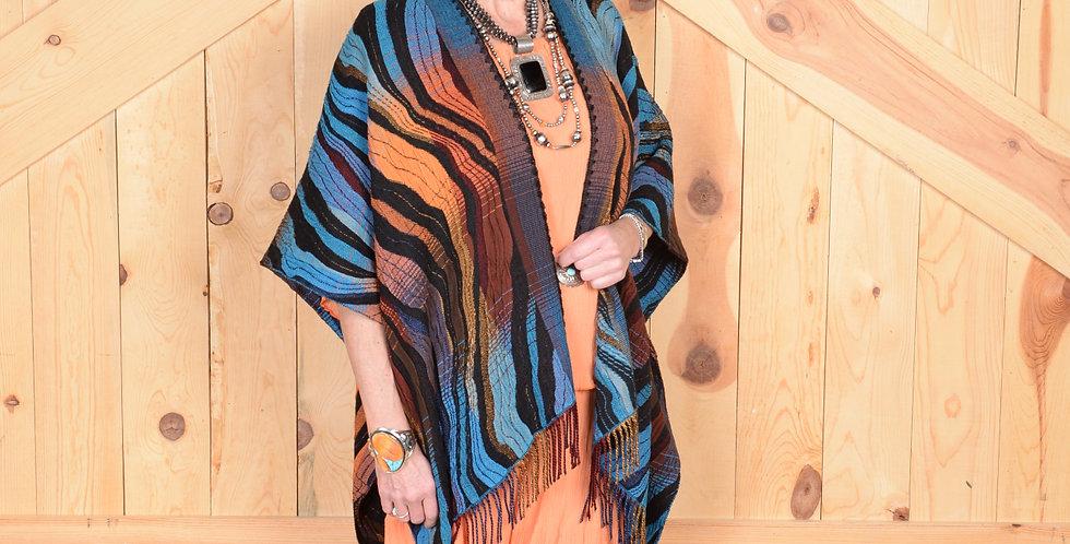 Turquoise Wave Italian Fringe Cape - Rhonda Stark