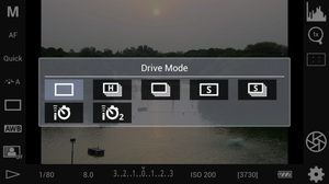 Drive mode which ranges from Single shoots, Burst mode to timer