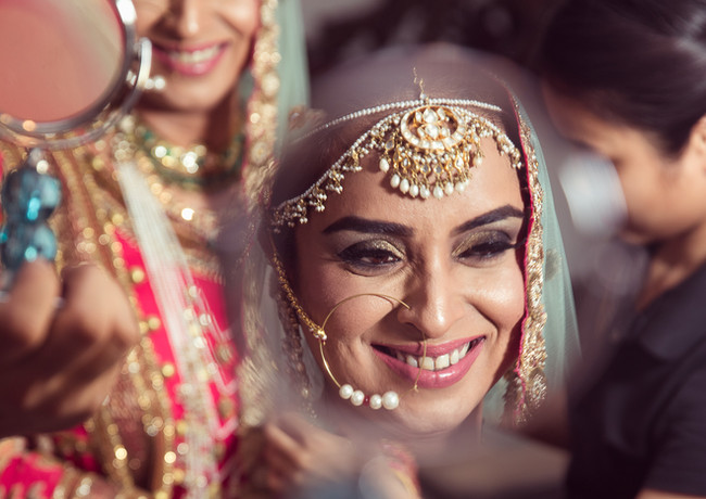 The bride during her makeup session