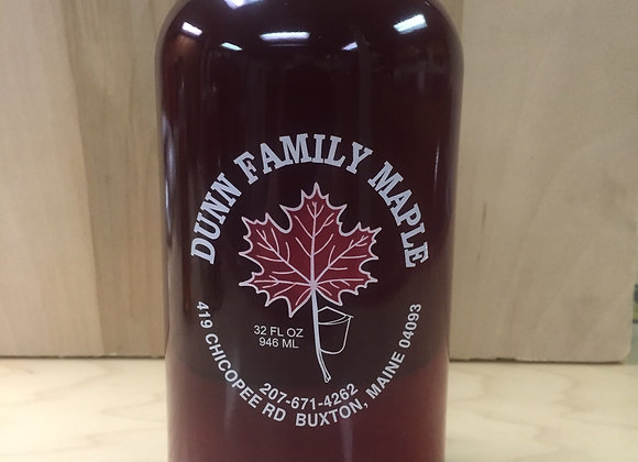 Glass quart bottle of pure Maine maple syrup.