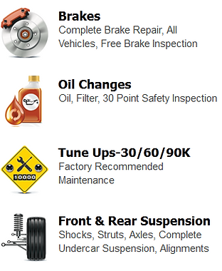 brake repairs, brake services, free brake inspections, brake inspections, brake replacements, oil changes, filter changes, safety inspections, tune ups, car maintenance, suspension repairs, shocks, struts, axles, wheel alignment, campbell auto repairs