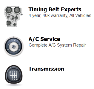 timing belt replacements, a/c repairs, a/c services, transmission repairs, transmission rebuild, transmission replacements
