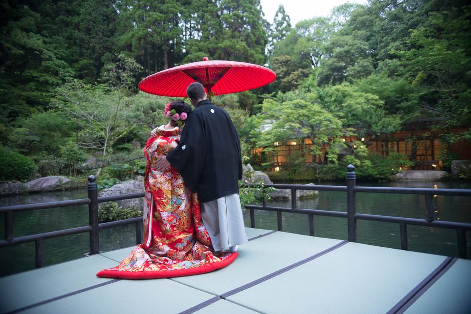 秋月の清流庵で日本庭園