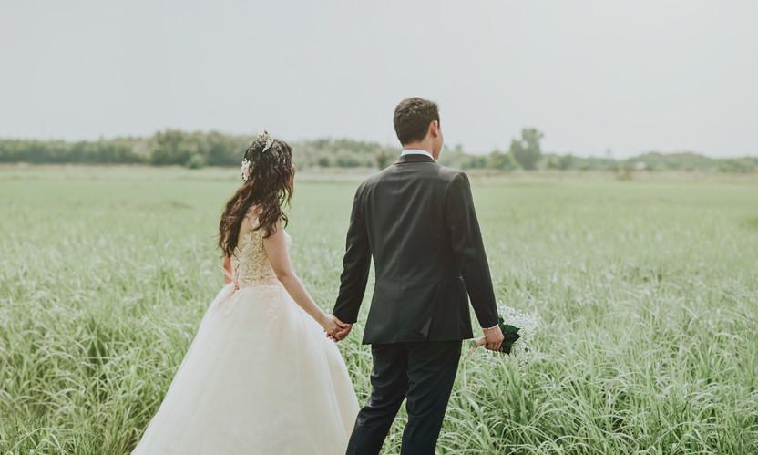 Landing at Homebush, Masterton - Bride and Groom on Field