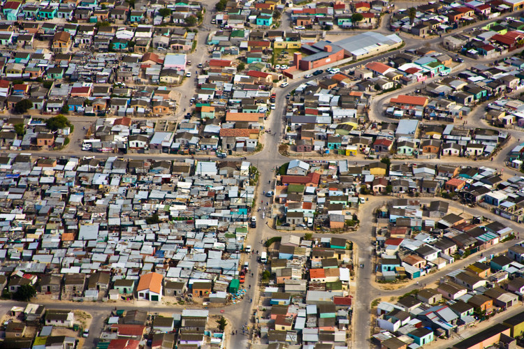 Ariel view of informal settlement in Cape Town