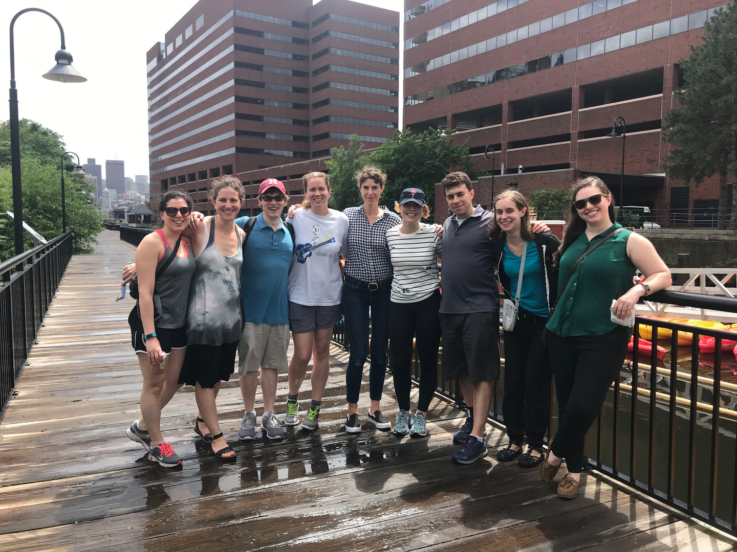 Elise Robinson and her lab members in Cambridge. MA.