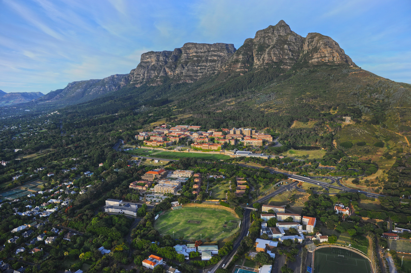 Bird's-eye view of the University of Cape Town, which is situated at the base of Table Mountain. Photographer: University of Cape Town / Michael Hammond