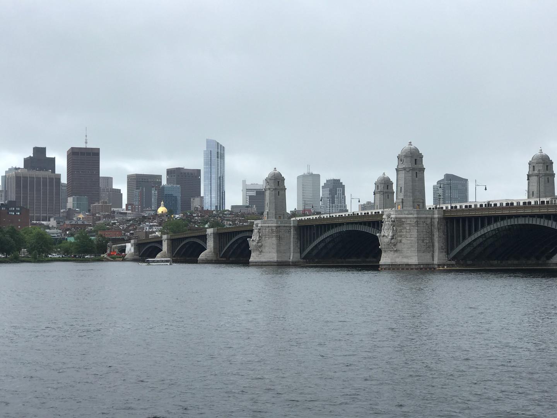The city of Boston featuring the Longfellow Bridge.