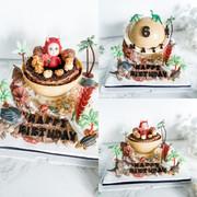 Dinosaurs theme knock knock cake
