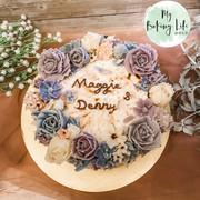 紫藍色豆沙裱花芋泥蛋糕