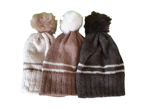 Alpaca two stripe hats with fixed brims