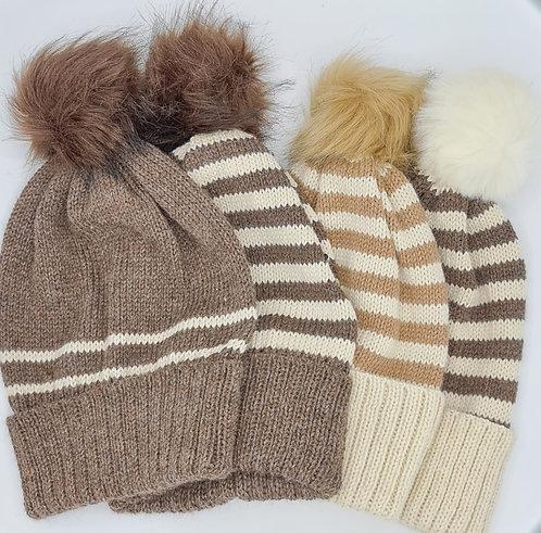 Alpaca striped hats - various colours