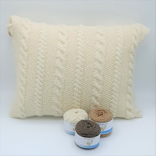 Knit Kit Supersoft Alpaca Cable & Bobble Cushion