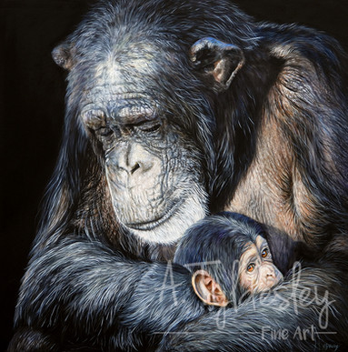 'A Mother's Love'- 47cm x 47cm Acrylic & Resin (SOLD)