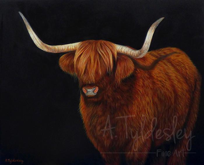 'Highland Cow'- Acrylic & Resin (Available)