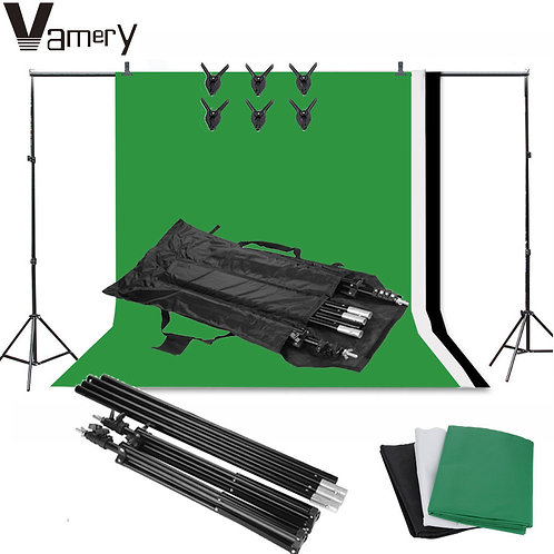 YFC Branded Photo Studio Background Kit Black White Green Screen Backdrop Se
