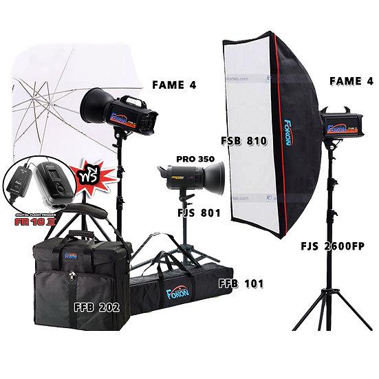 ชุดไฟสตูดิโอ Fokon รุ่น Fame-e 4 P Set ระบบ Mannual พร้อมใช้งานด้วย Trigger