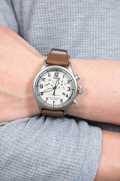 Timex Waterbury Beige Dial Leather Strap