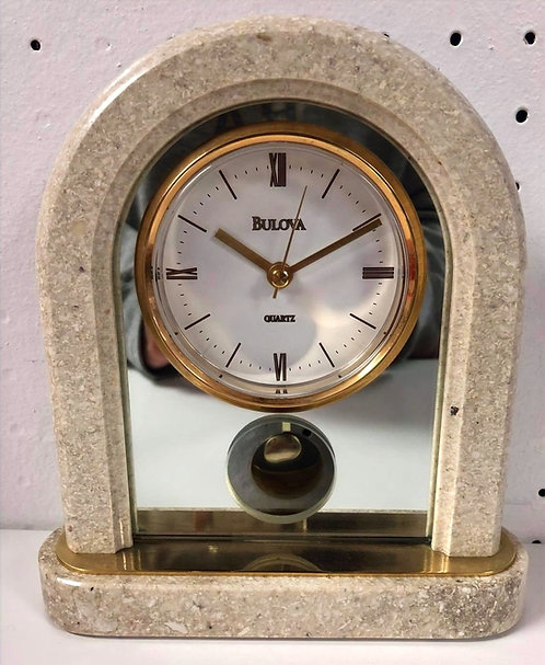 Bulova White Marble Style Desk Clock
