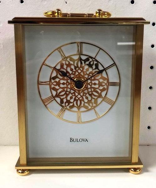 Bulova Table Clock Gold Accents