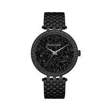 Caravelle 38mm Women's Fashion Watch with Swarovski Crystals - Black/Pave