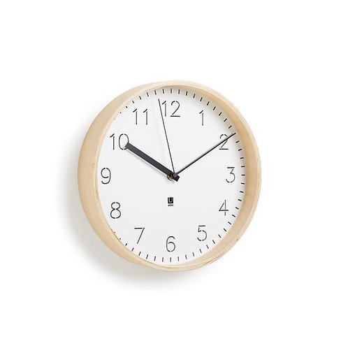 White and Natural Rimwood Wall Clock