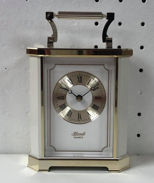 Hermle White & Gold Carriage Clock
