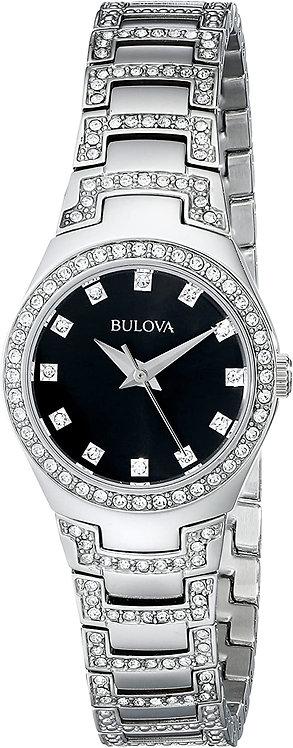 Ladies Bulova Diamond Black Dial