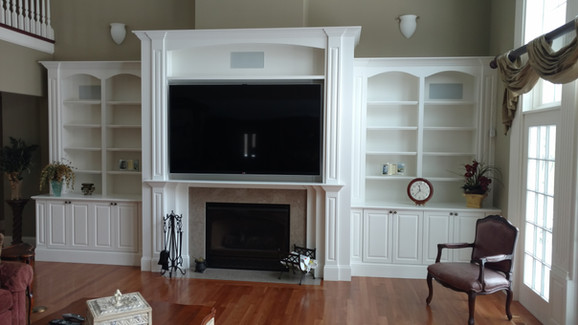 White Full Wall Cabinets with Fireplace