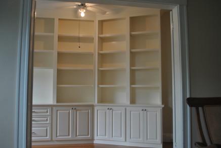 Custom Angled Full Wall Shelving Office