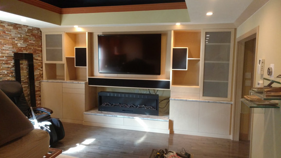 Modern Full Wall with Glass and Slim Fireplace