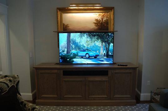 Entertainment Center with Hidden Motorized Screen, Open Position