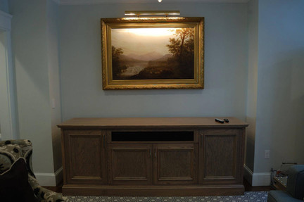 Entertainment Center with Hidden Motorized Screen, Closed Position