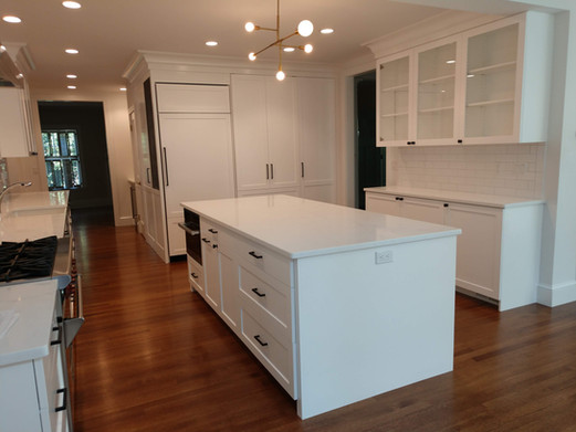 Island and Glass Cabinets
