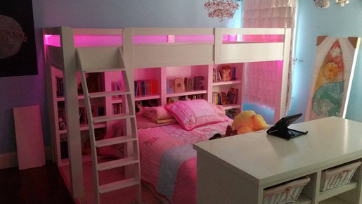 Custom Bunk with End Storage and LED lighting