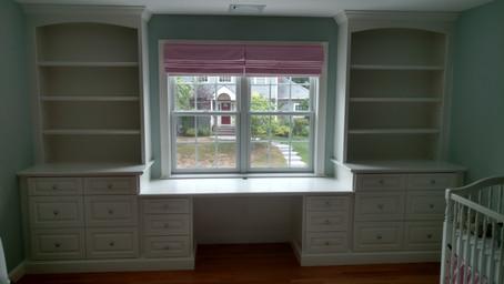 Bedroom Desk Under Window and Shelving