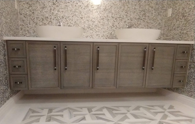 Custom Finished Gray Dual Sink