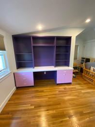 Custom Childrens In-wall Desk Pink