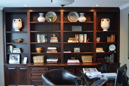 Dark Full Wall Office Shelving