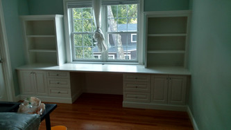 Under Window Desk and Shelving