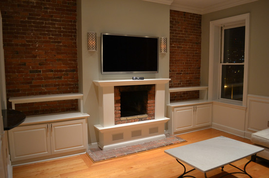 Custom In-wall Fireplace with Entertainment Mounting
