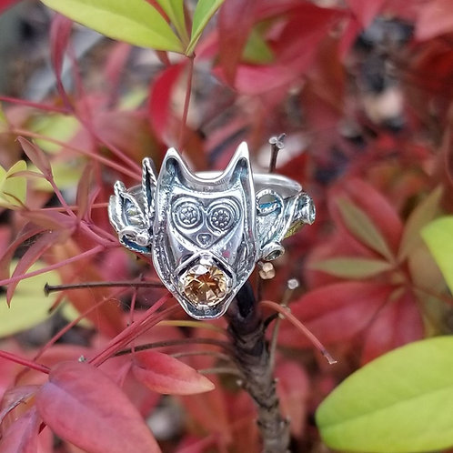Midnight Owl filigree ring