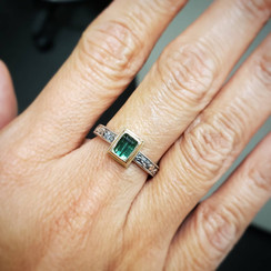 9k yellow gold and sterling silver ring with Tourmaline