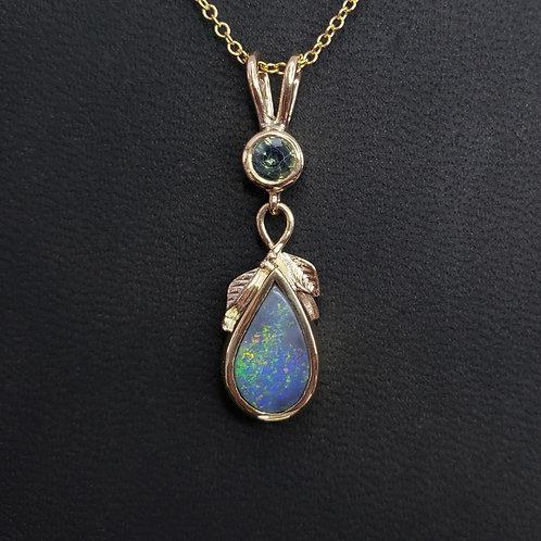 Leaf pendant with black opal