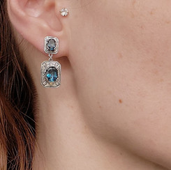 Sterling silver earrings with London Blue topaz